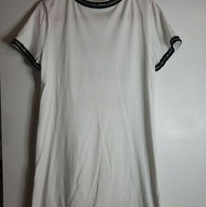 Pre-owned Zara Knit White T-shirt Dress.Size Small